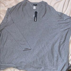 Brand new light material gray sweater w side slits